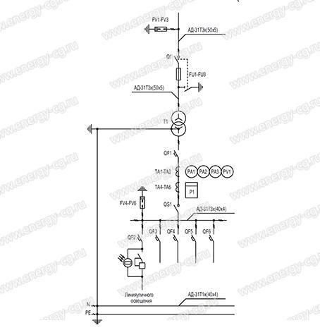 Однолинейная принципиальная схема КТП-Т-400/6(10)/0.4