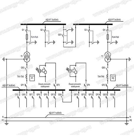 Однолинейная принципиальная схема 2КТП-П-630/10/0.4