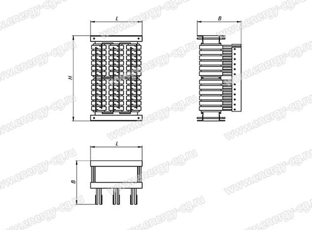 Габаритно-установочные размеры трансформатора ТСЭ-63/52 кВА IP00