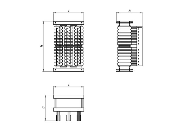 Габаритно-установочные размеры трансформатора ТСЭ-125/64 кВА IP00