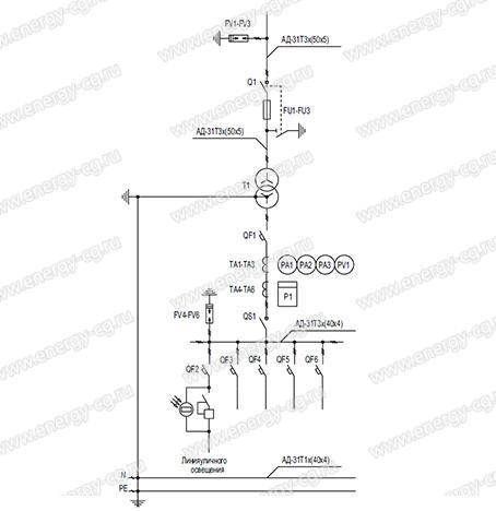 Однолинейная принципиальная схема КТП-П-1250/10/0.4