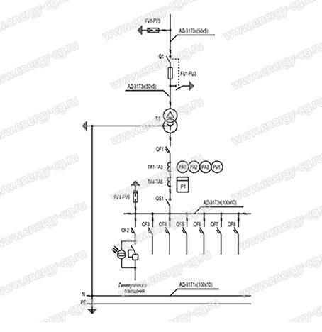 Однолинейная принципиальная схема КТП-Т-1000/6(10)/0.4