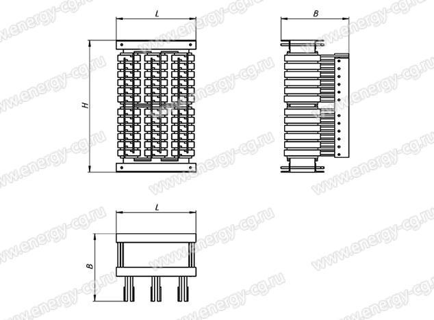 Габаритно-установочные размеры трансформатора ТСЭ-100/155 кВА IP00