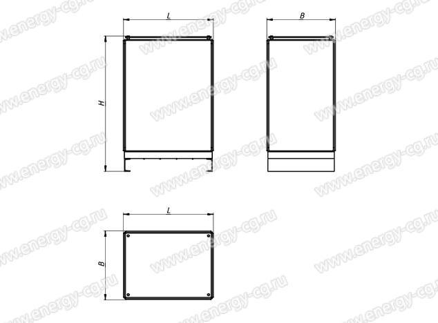 Габаритно-установочные размеры трансформатора ТСЭ-100/65 кВА IP00