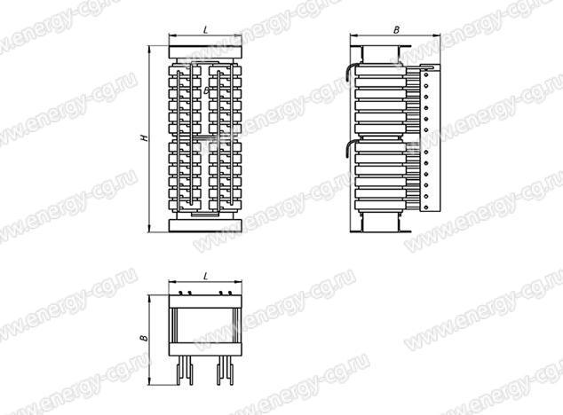 Габаритно-установочные размеры трансформатора ОСЭ-63/310 кВА IP00