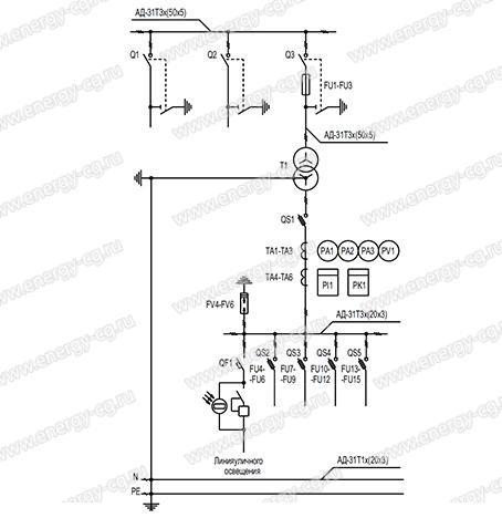 Однолинейная принципиальная схема КТП-П-400/6(10)/0.4