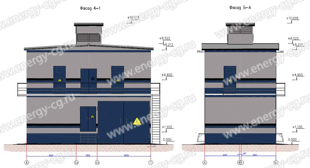 """Габаритно-установочные размеры трансформаторной подстанции """"КУБ-25"""" 35 кВ"""